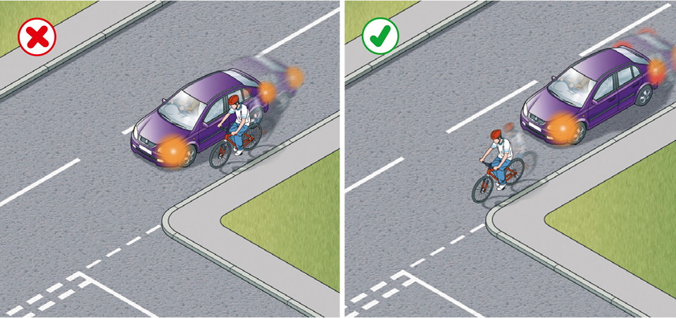 Rule 182: Do not cut in on cyclists