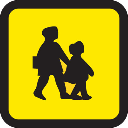 School bus (displayed in front and rear window of bus or coach)