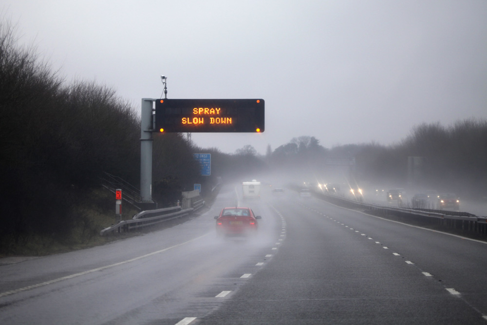 DVSA Syllabus bad weather sign on dual carriageway