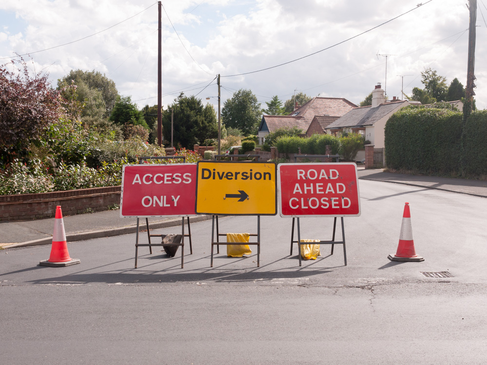 Road signs causing change of plan