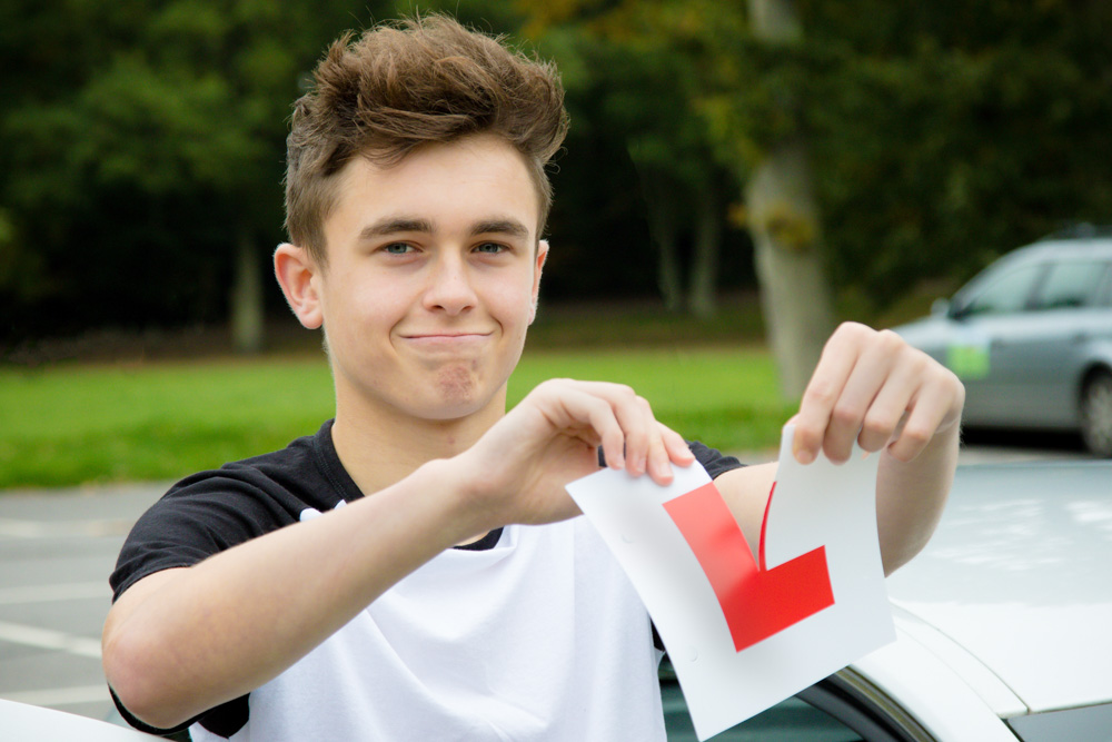 Boy passing his driving test